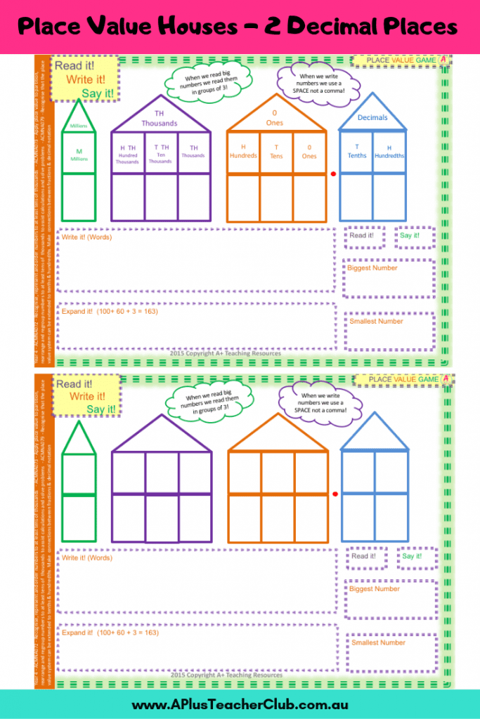 Decimal Place Value House 2 DP