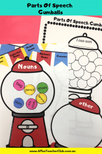 Parts Of Speech Gumballs Literacy Centers Image