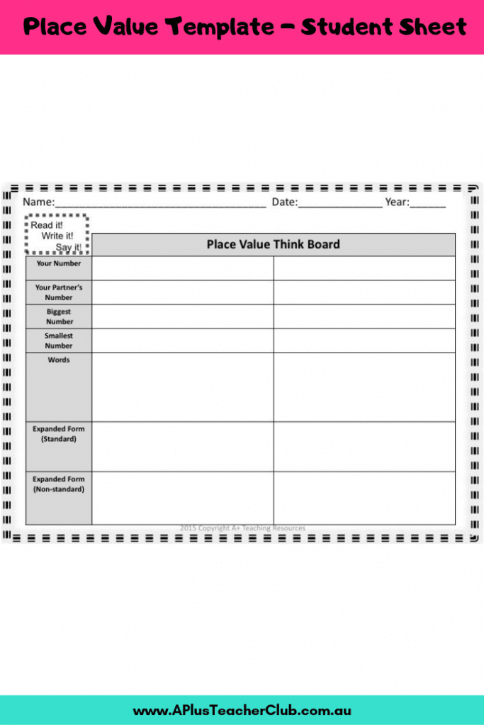 Place Value student recording sheet