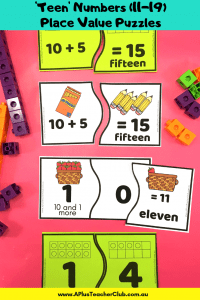 Teen Place Value Puzzles ten frames image