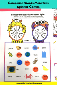 compound word spinner games for kids