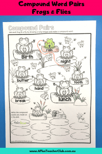 compound words printables frogs & flies