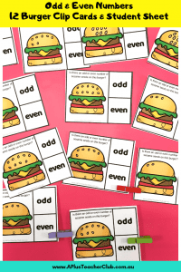 image of burger themed activity for odd and even numbers