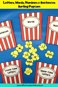 Letters, words, numbers Sorting Phonics Activity literacy center image