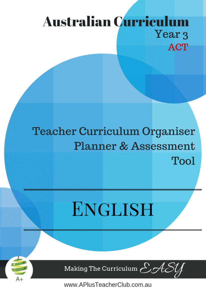Australian Curriculum English Planning Tool Year 3 ACT Product Image