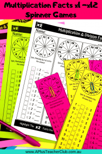 Multiplication Facts Spinner Games (1)