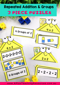 Repeated Addition, Groups Of x2 Fact Houses Puzzles