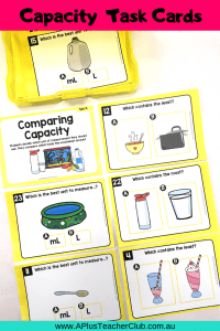 Capacity Task Cards For teaching kids measurement