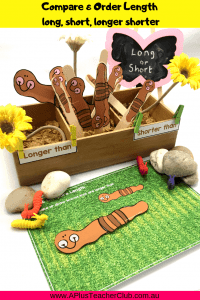 Image of comparing long & short worms play tray