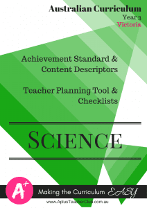 Australian Curriculum Documents Year 3 Science VIC