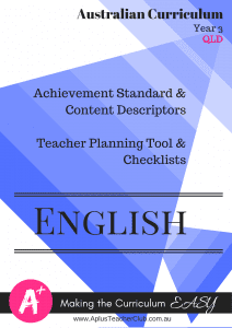 Australian Curriculum Planning Documents Year 3 English QLD