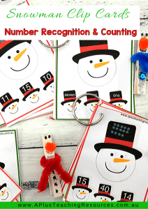 Snowman Clip cards for counting & Number recognition