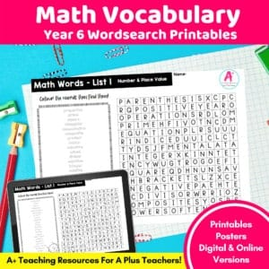 Year 6 Math Vocabulary Printables