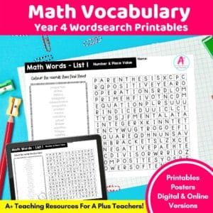 Year 4 Math Vocabulary Printables